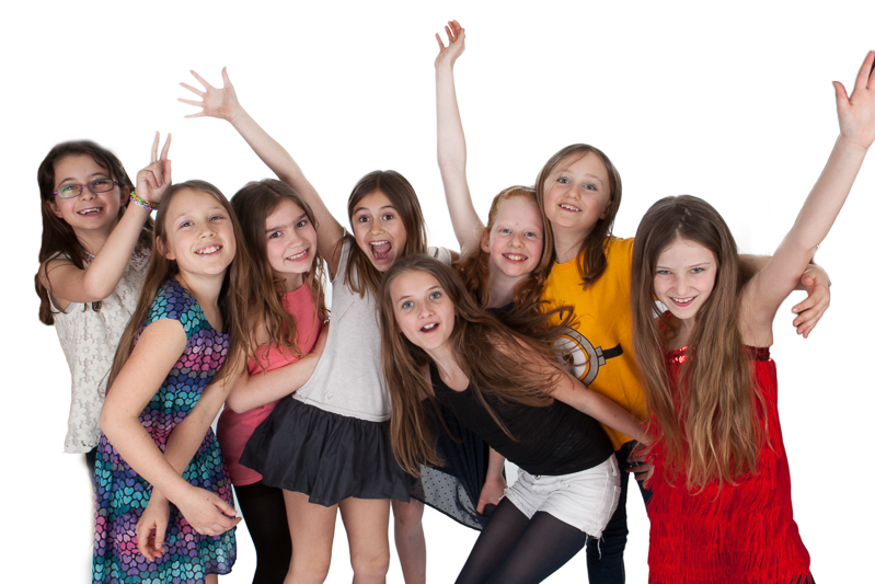 Photograph of girls at makeover photoshoot party