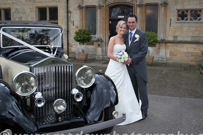Bride and Groom by car outside Mountains Country House
