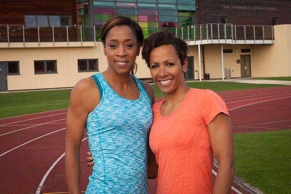 Photograph of Dame Kelly Holmes and Diane Modahl at The Tonbridge School Centre in Tonbridge