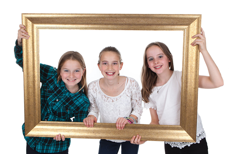 Makeover party and girls with frame