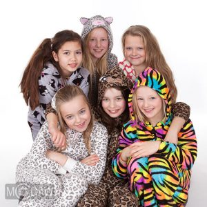 Photograph of girls in onesies at photoshoot party by MCDAW Photography