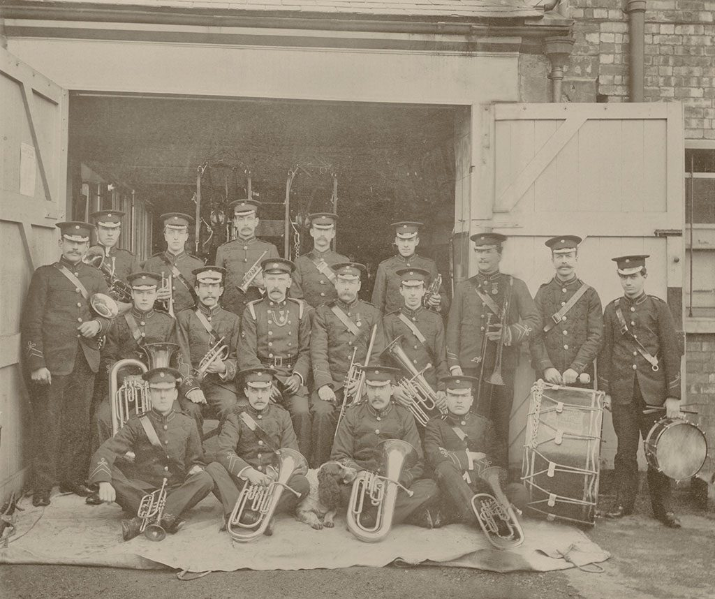 photo restoration project image of the tonbridge fire brigade band repaired ready for printing